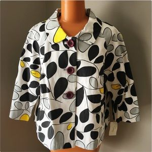 Leaf print swing jacket from Sonnie's